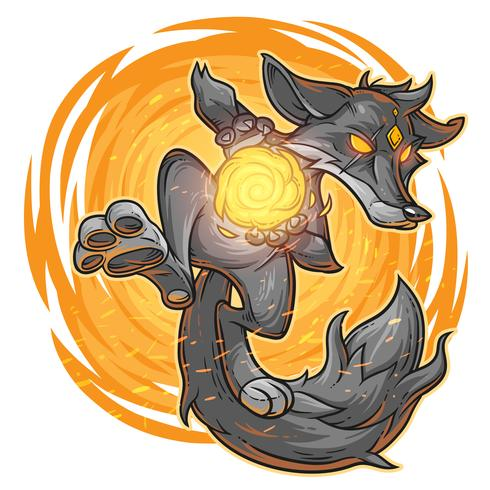 Vector illustration of a fire fox.