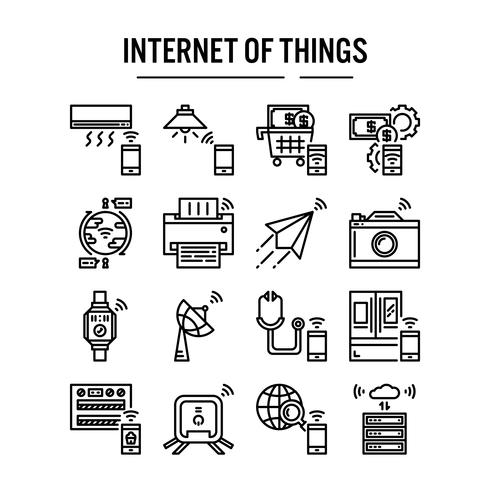 Internet of things icon in outline design vector