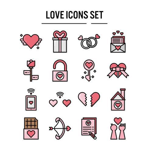 Amor, ícone, enchido, esboço, desenho vetor