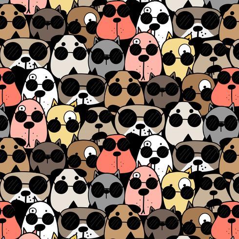 Fondo fresco dibujado mano del modelo de los perros. Ilustracion vectorial