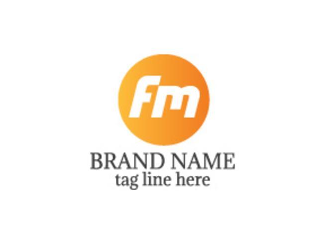 Logotipo da letra logotipo FM vetor