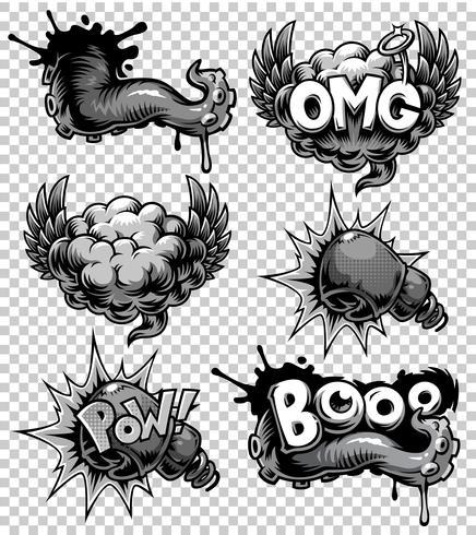 Conjunto de vectores de iconos de cómics monocromos