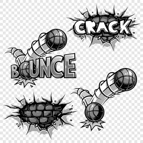 Conjunto de vectores de iconos de cómics monocromos.