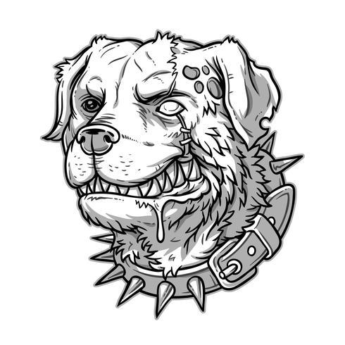 Vektor illustration av onda galna hunden