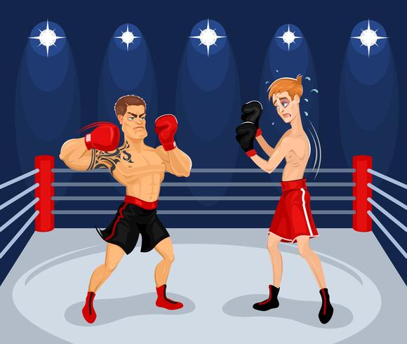 Vectorillustratie van boksers in de ring.