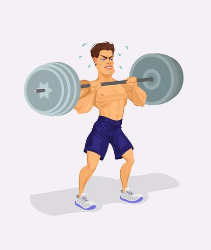 Ilustración vectorial de un levantador de pesas