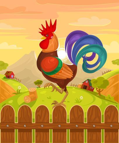 Illustrazione vettoriale di un gallo