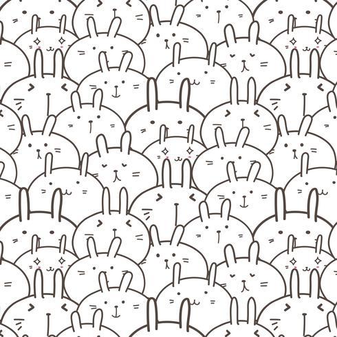 Fondo lindo del modelo del vector del conejito. Doodle gracioso. Ilustración vectorial hecha a mano