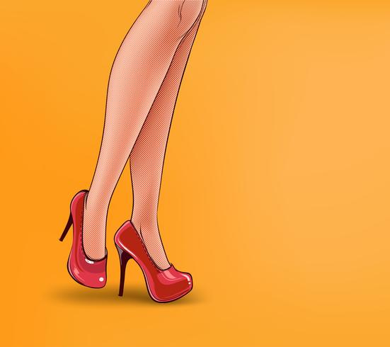 Vektorknallkunstillustration von weiblichen Beinen