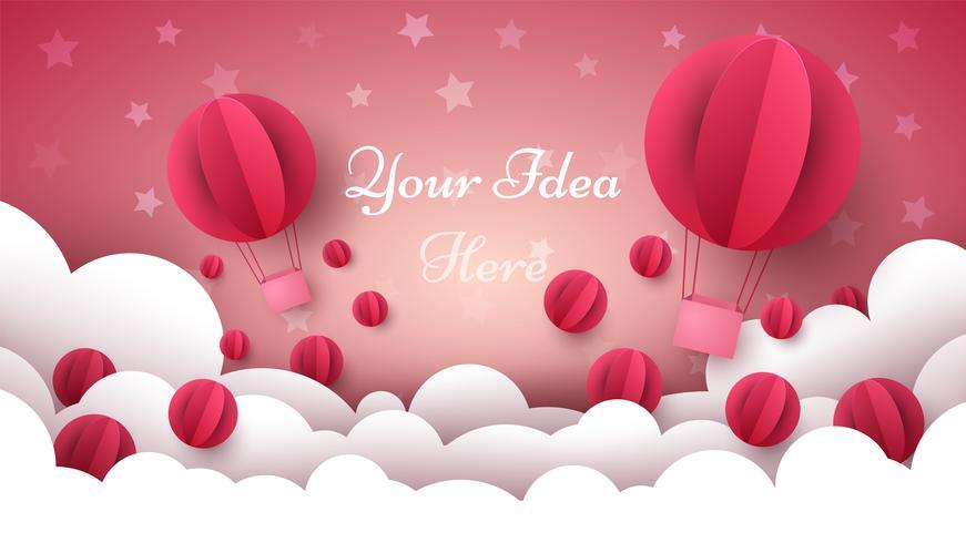 Valentine s Day illustration. Air balloon, heart, cloud. vector