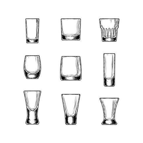 Conjunto de taças de ilustração vetorial