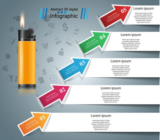 Accendino realistico - icona di infographic e marketing di affari. vettore