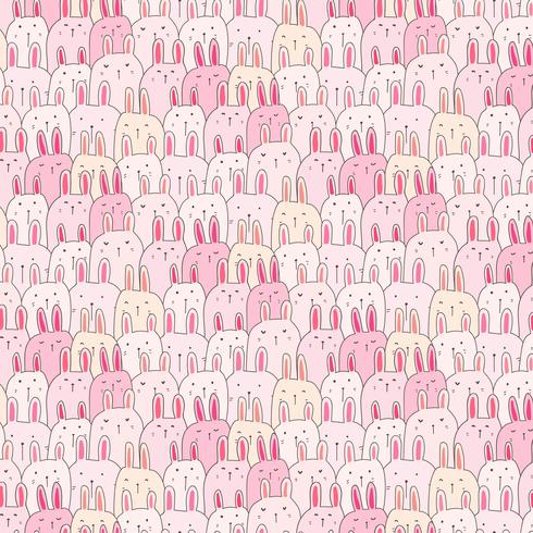 Hand Drawn Cute Bunny Vector Pattern Background. Doodle Funny. Handmade Vector Illustration.