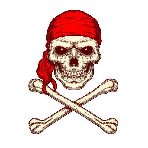 Vector illustratie van een schedel en gekruiste knekels