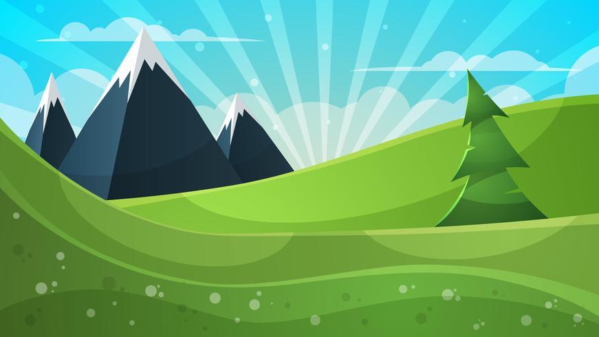 Ilustração dos desenhos animados. Montanha, abeto, nuvem, sol.