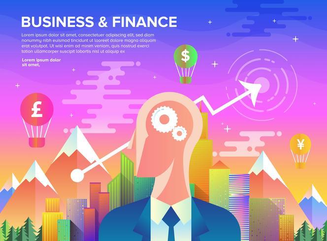 Crescimento de negócios em arte plana