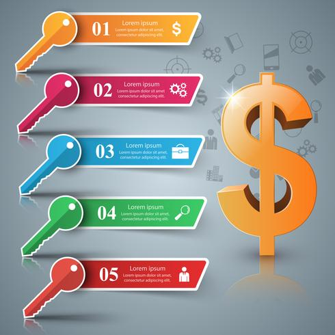 Dólar, clave de papel de cinco infografía.