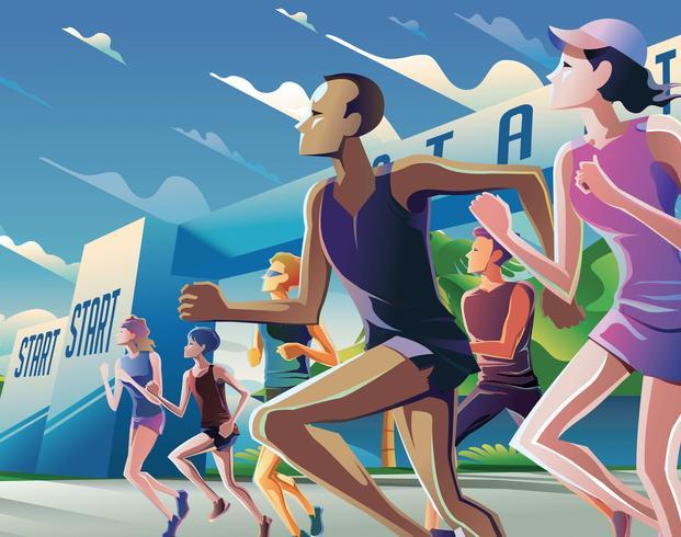 Maratón corriendo el tema del arte vector