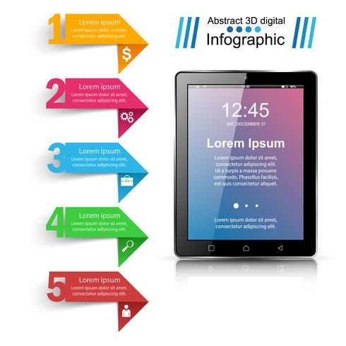 Digital gadget, smartphone tablettikonen. Business infographic.