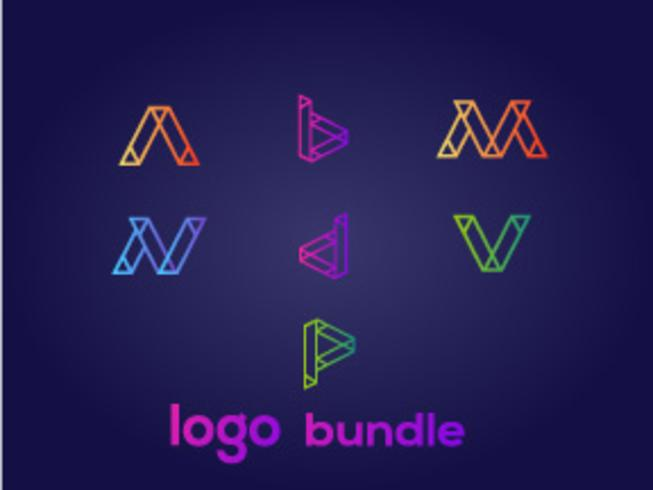 7_abstract_letter_logo_bundle vector