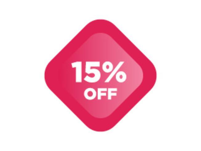 Sconto del 15% sulla vendita di sconti promozionali Icona brillante