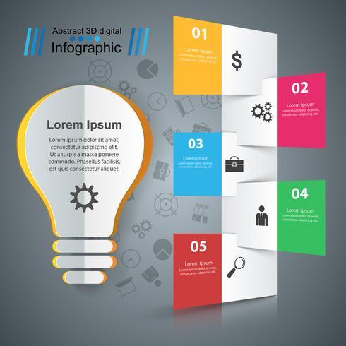 Projeto infográfico. Lâmpada, ícone de luz. vetor