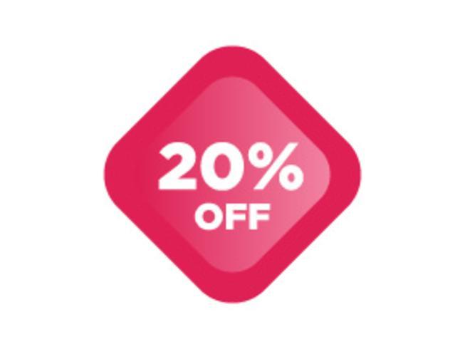 20% de rabais sur les promotions de promotion. Affiche, bannière, annonces brillantes. Valentine Day Sale, étiquette de réduction de vacances,