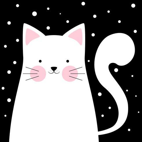 Rolig, söt katt. Vinterillustration.