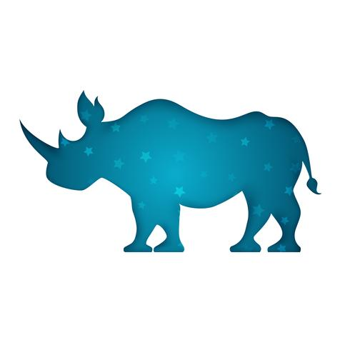 rhino paper cut illustration blanche.