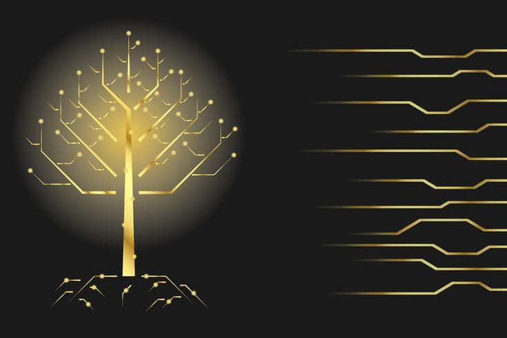 Concepto de comunicación de árbol digital para fondo de tecnología