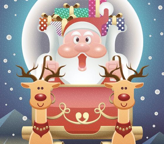 merry christmas ecard vetor