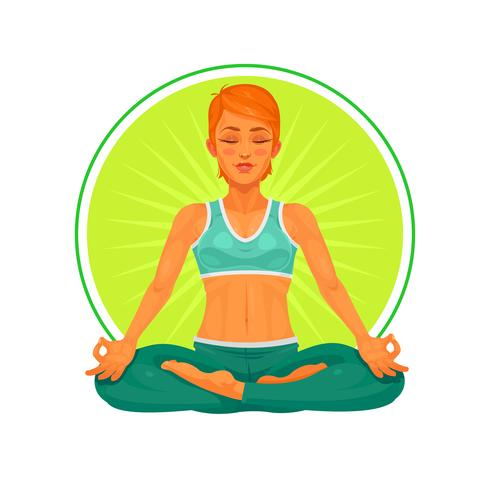 Illustration vectorielle d'un yoga fille