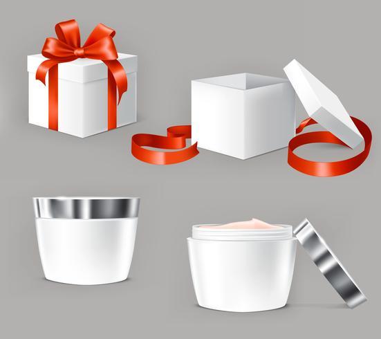 Conjunto de vetores de ilustrações para recipientes de cosméticos.