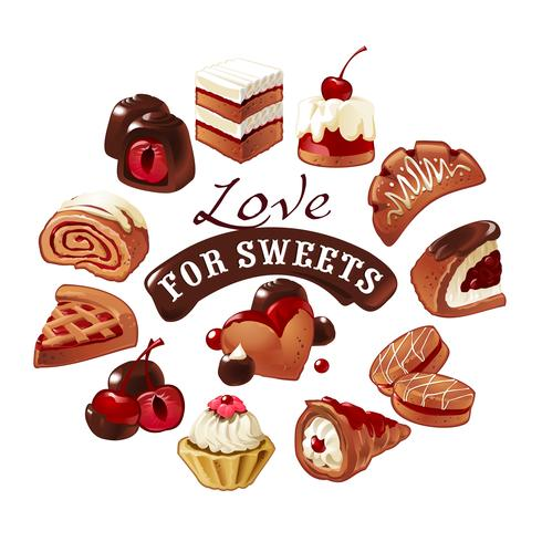 Conjunto de iconos vectoriales dulces