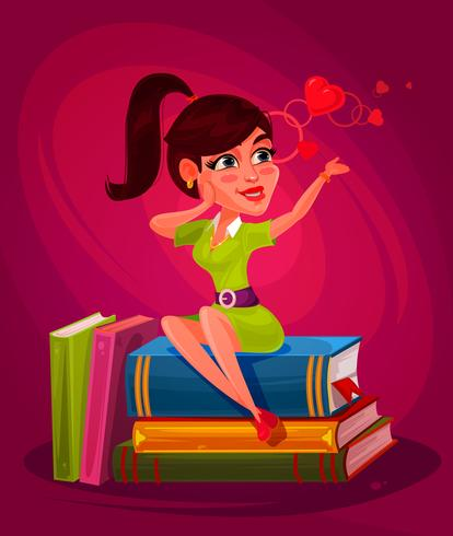 Vector illustration of a young girl sitting on the books