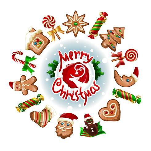 Ilustración vectorial de dulces navideños.