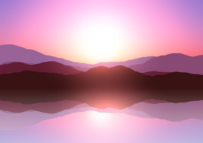 Paisagem de montanha do sol vetor