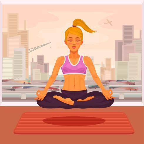 Illustration vectorielle d'un yoga fille en position du lotus