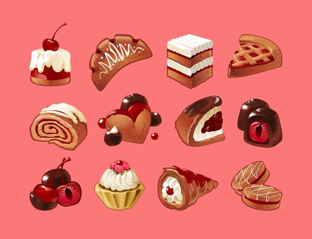 Vector conjunto de iconos de dulces