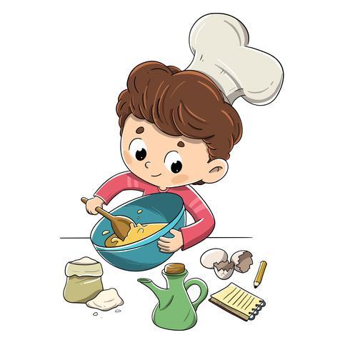 Barn i köket förbereder ett recept