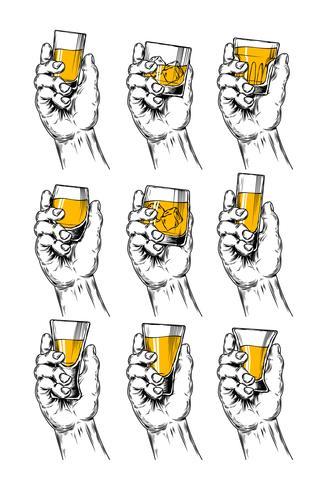 Set di illustrazioni vettoriali mani che tengono calici