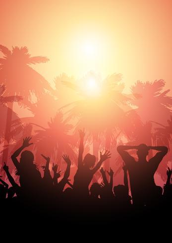 Party folkmassan på en sommarlandskapsbakgrund