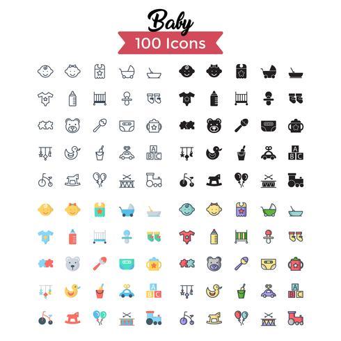 vecteur de jeu d'icônes de bébé