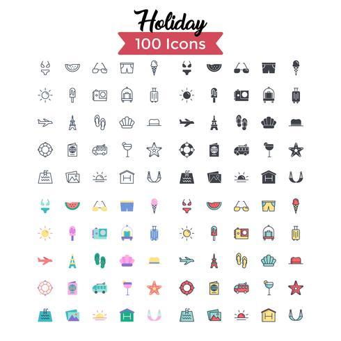 icono conjunto de vacaciones vector