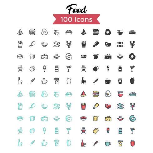 icona di cibo set vettoriale