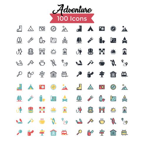conjunto de iconos de advecture vector