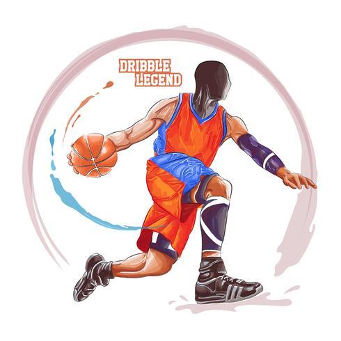 basketbal dribbel aquarel