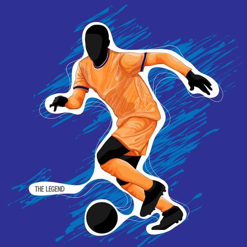 football soccer silhouette paint vector