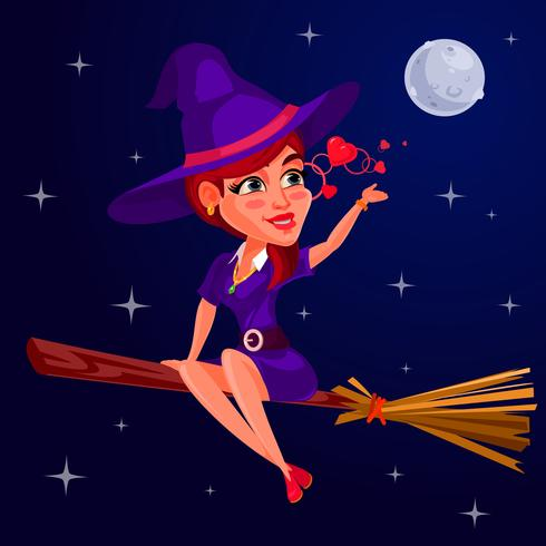 Vector illustration of a young girl witch