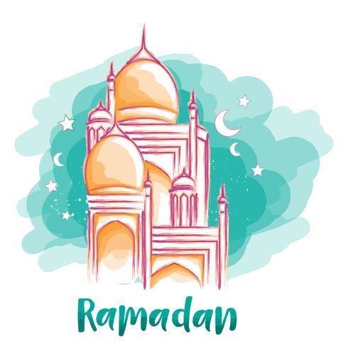 acquerello di moschea di Ramadan